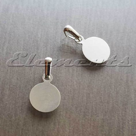 Silver Plated 8mm Round Disc Glue On Pendant Bail BM166